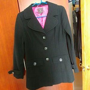 F22 black pea long overcoat duster